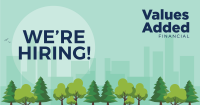 picture of trees, skyline with title of we're hiring